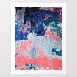 Mixtapes and Bubblegum: a colorful abstract piece in pinks and blues by Alyssa Hamilton Art Art Print
