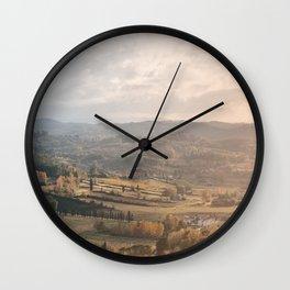 Beautiful autumn landscape in Tuscany Wall Clock