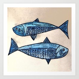 Blue fishes- Poissons bleus Art Print