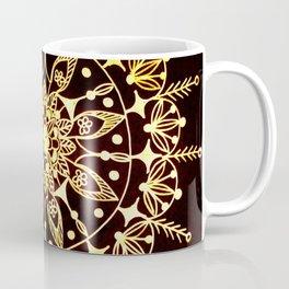 Gold Metallic Mandala on Black Background #2 Coffee Mug