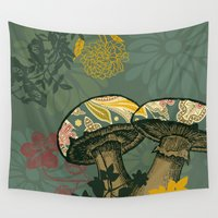mushrooms Wall Tapestries featuring Mushrooms by Agustina Echarry