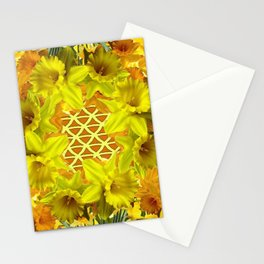 GOLDEN YELLOW SPRING DAFFODILS PATTERN GARDEN Stationery Cards