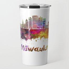 Milwaukee V2  skyline in watercolor Travel Mug