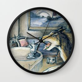GrimmSeries5 - Wolf in the house Wall Clock