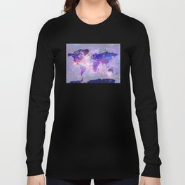 world map galaxy Long Sleeve T-shirt