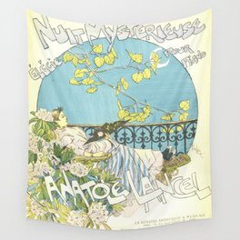 """Théophile Steinlen """"Sheet music: Nuit mystérieuse by Anatole Lancel"""" Wall Tapestry"""