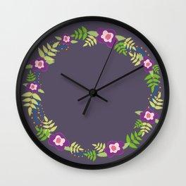 Flower Wreath | Purple Mud Wall Clock