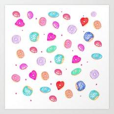Cute watercolor hand painted donuts foodie pattern Art Print