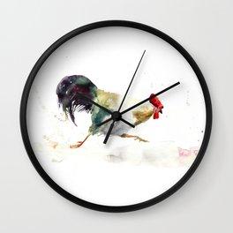 Symbol of 2017 Year, watercolor rooster, cock, cockerel Wall Clock