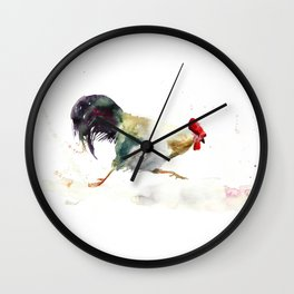 Symbol of 2017 Year, watercolor rooster, cock, cockerel Wall Clock