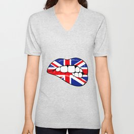 United Kingdom Lips Unisex V-Neck