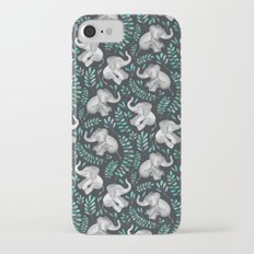 Laughing Baby Elephants – emerald and turquoise iPhone 7 Slim Case