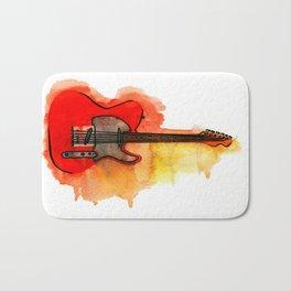 Watercolor guitar Bath Mat