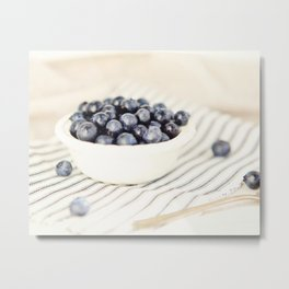 Scalloped Cup Full of Blueberries - Kitchen Decor Metal Print