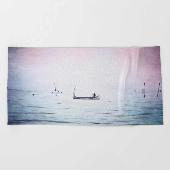 The Lonely Man and The Infinite Sea Color Version Beach Towel