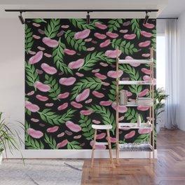 flying leaves in pink Wall Mural
