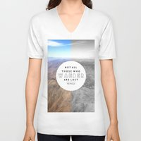 not all who wander V-neck T-shirts featuring Wander by Cactus And Fog
