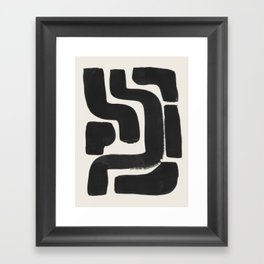 Black Ink Paint Brush Strokes Abstract Organic Pattern Mid Century Style Framed Art Print