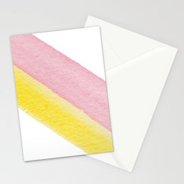 Modern pastel pink yellow  watercolor stripes Stationery Cards