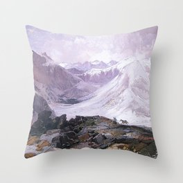 Mosquito Trail Rocky Mountains Colorado 1874 By Thomas Moran | Winter Landscape Reproduction Throw Pillow