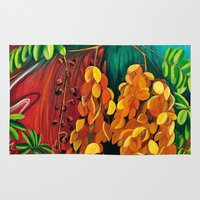 "cassia beck Area & Throw Rugs featuring ""Cassia"", Fine Art Print, Oil painting, flowers painting, yellow, floral wall decor, flowers art by Adriana Calcines"