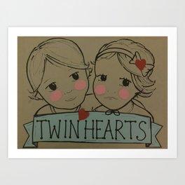 Twin Hearts Art Print