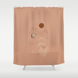 Lost Pony - Pink Clay Shower Curtain