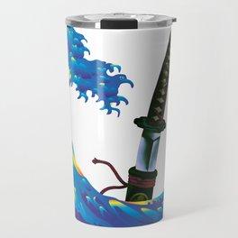 Hokusai Rainbow & Samurai Sword Travel Mug