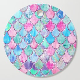 Colorful Pink and Blue Watercolor Trendy Glitter Mermaid Scales Cutting Board