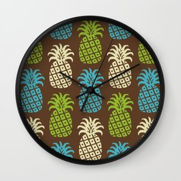 Retro Mid Century Modern Pineapple Pattern 83 Wall Clock