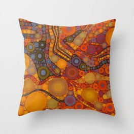 NOMAD an intricate design of orange and gold dots Throw Pillow