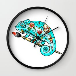 Tattooed Chameleon Wall Clock