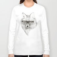 fox Long Sleeve T-shirts featuring Fox Specs by Phil Jones
