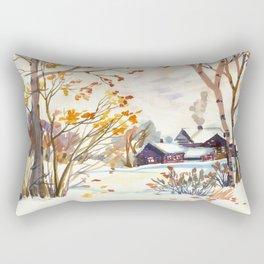 Late Autumn. First Snow. Rural Landsape. Birches Rectangular Pillow