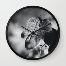 Autumn Grape Leaf in Black and White Wall Clock