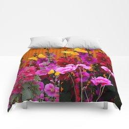 BUTTERFLIES IN PURPLE-PINK  FLOWERS GARDEN Comforters