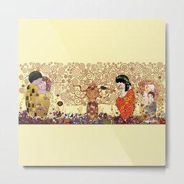 Kokeshis Klimt Metal Print