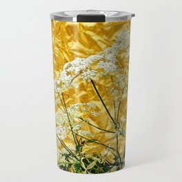 GOLDEN LACE FLOWERS FROM SOCIETY6 BY SHARLESART. Travel Mug