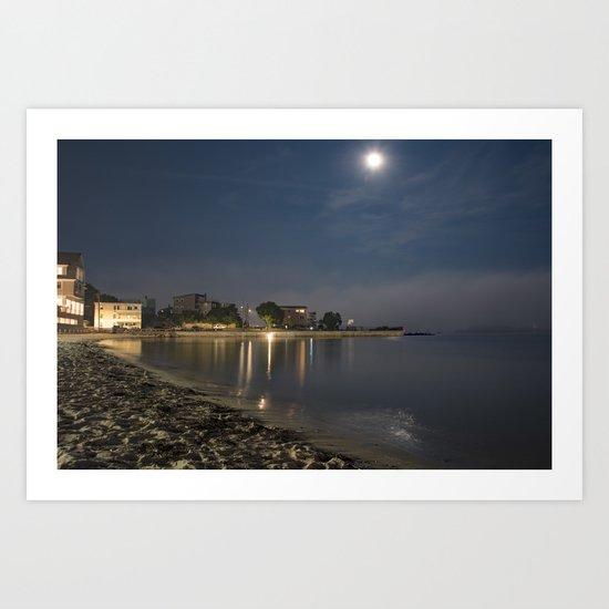 Foggy Moonlit Beach Art Print