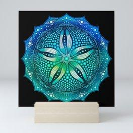 Sand Dollar Mandala - Black BG Mini Art Print