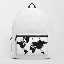 Minimalist World Map Black on White Background Backpack