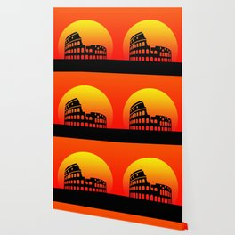 Sunset and colosseum in a red sky Wallpaper