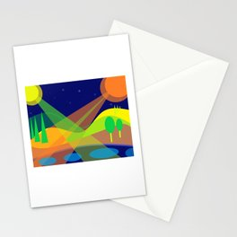 Landscape with 2 moons Stationery Cards