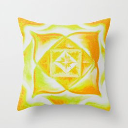 Four Directions - Balancing Square Yellow Throw Pillow