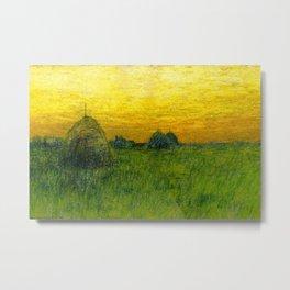 Haystacks amid a Golden Sunset landscape by Charles Warren Eaton Metal Print