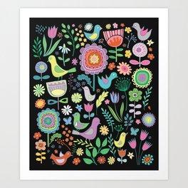 Birds & Blooms - Pastels on Black Art Print