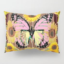 BLACK ABSTRACT PINK BUTTERFLY SUNFLOWER FLORAL Pillow Sham