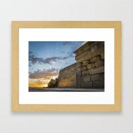 Sunset on egyptian Debod Temple in Madrid Framed Art Print