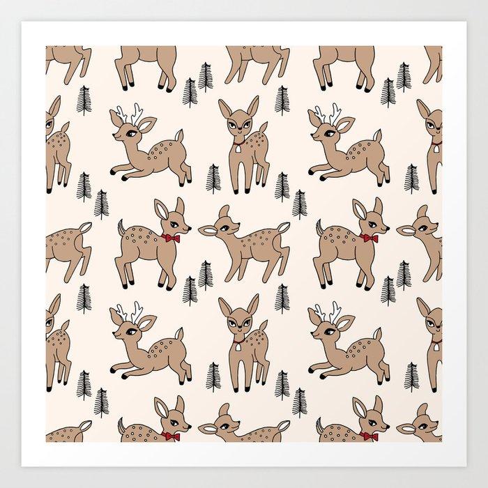 Reindeer Vintage Style Cute Rudolph The Red Nosed Reindeer Pattern