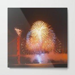 Golden Gate - San Francisco Fireworks - Celebrate Metal Print